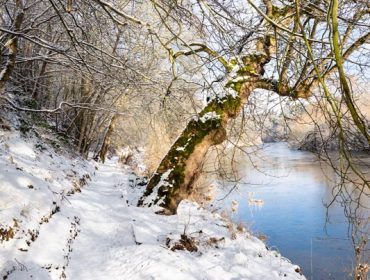 Teviot River and winter snow in the Scottish Borders