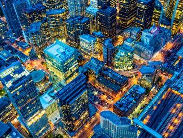 Toronto financial district cityscape at dusk, Ontario, Canada.