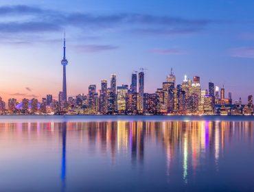 Toronto Skyline with purple light - Toronto, Ontario, Canada