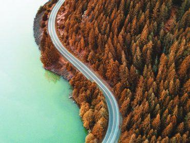 diablo lake aerial view in fall